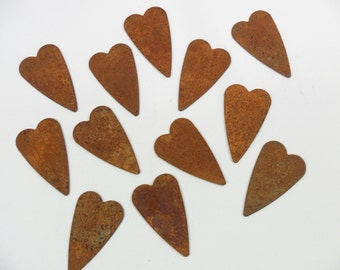 "24 Hearts Rusty Tin Cut Out 1 1/4"" x 3/4"""