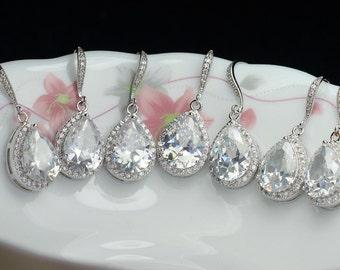 set of 7 bridal drop earring bridemaids earring wedding earring