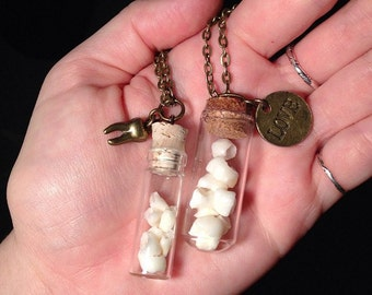 YOUR HUMAN TEETH (or hair, cremains, etc) Made into A Glass Vial Pendant Necklace Keepsake