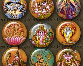 HINDU GODS 1 inch Circles - Digital Printable Collage Sheet for Jewelry Magnets Crafts...Deities Sacred Krishna Ganesha Kali