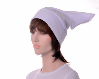 White Pointed Beanie Hat Elf Hat Stocking Cap Mens Hat Womens Hat