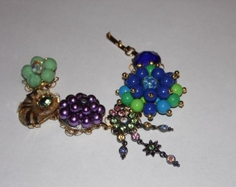 Vintage Earring Bracelet/Shades of the Rainbow/Free Shipping