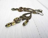 Golden Sage Chandelier Earrings: Czech Glass, Antiqued Brass, Bohemian