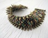 Southwestern Spiked Wristband Bracelet: Czech Glass Seed Beadwork, Spike Fringe