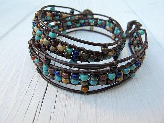 Double Wrap Bracelet Brown Leather Bohemian Mix Czech Glass, Featured in Autumn 2013 Belle Armoire