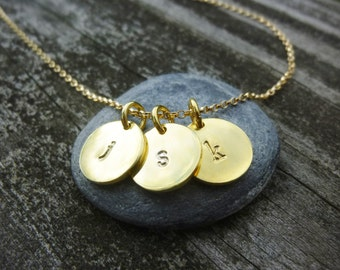 Hand Stamped Necklace,Gold Initial Necklace,Personalized Necklace,Initial Disc Necklace,Custom Hand Stamped,Gift For Her,Gift For Mom