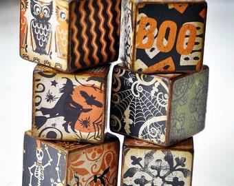Woodsy Halloween decorative wooden blocks