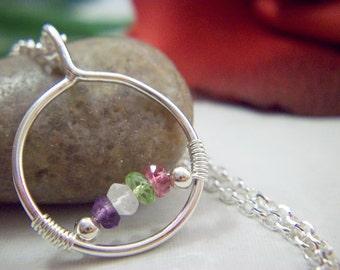 Custom Mother's or Genuine Gemstone Pendant in Sterling Silver