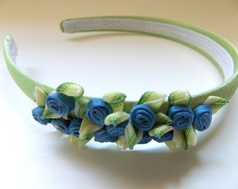 Floral Headband, Sage Green Satin Band with Blue and Green Flowers