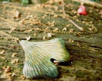 Gingko leaf and pink fuchsia flower necklace pendant ( zen, retro, vintage, verdigris, green, botanical ) 05