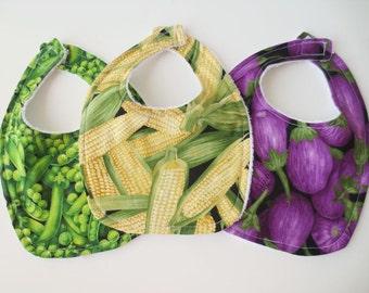 Terrycloth Baby Bib Set - 3 Veggie Bibs - Peas, Corn, Eggplant
