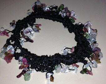 Watermellon Tourmaline Bracelet, Beaded Bracelet, Stretch Bracelet, Crocheted Bracelet, Gift for Her, Watermellon Tourmaline jewelry