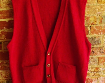 Vintage Man's Holiday Red Vest by Jantzen/Wool and Acrylic/Made in USA/Size XL