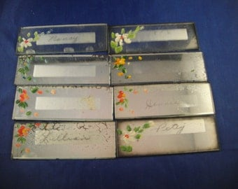 Mirror Place Cards Hand Painted Floral Bridge Game