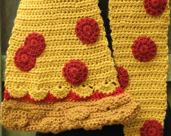 Crocheted Giant Pepperoni Pizza Scarf, Fun Fashion Accessory, Adorable Foodie Gift, I Love Pizza Scarf, Made to Order