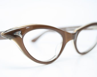 Brown cat eye glasses  vintage cateye eyeglasses frames