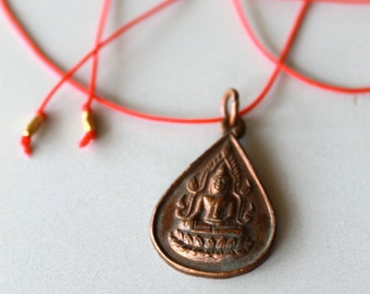 Antique Buddha, Thai Amulet, Red String Necklace, Buddhist, Spiritual, Good Fortune
