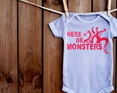 Here Be Monsters Onesie (Deep Red on Charcoal Gray) - 0-3M Baby Bodysuit - Garnet Red