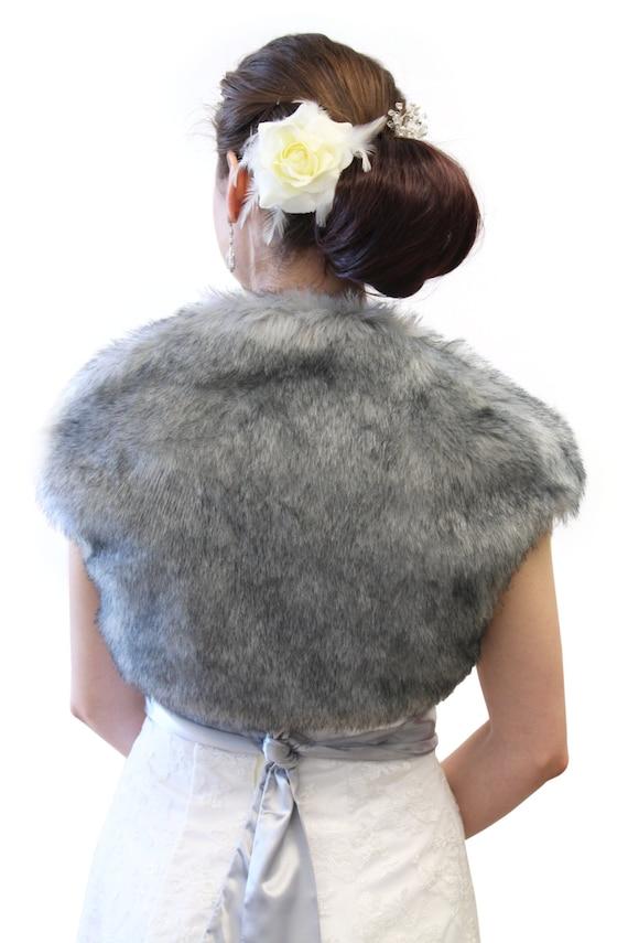 Easter Sale Faux Fox Fur Bridal Bolero Crop Jacket, Faux Fur Shrug, Faux fur Coat Grey Chinchilla