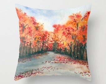 Decorative Pillow Cover - Autumn Painting - Throw Pillow Cushion - Fine Art Home Decor