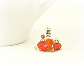 Orange Vanity Set 12th One Inch Scale Doll House Miniature Perfume Bottle Ladies