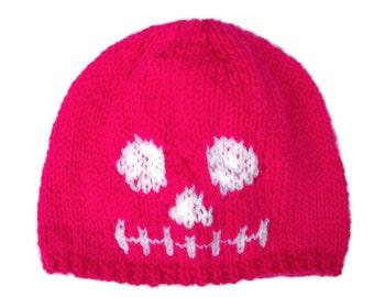 Baby Skeleton Hat, Skull Beanie, Goth, Punk, Hand Knitted