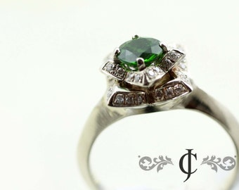 Lotus Ring...14k White Gold, Diamonds and Chrome Diopside Gemstone, Vintage Inspired, Antique Style Wedding Band By JC Metalsmith
