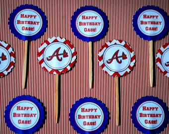 Baseball Cupcake Toppers - Set of 10 - Select Your Team - Personalized