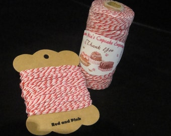 Red and Pink Bakers Twine - 12 ply, 100% cotton Bakers Twine - full 100 yard spool