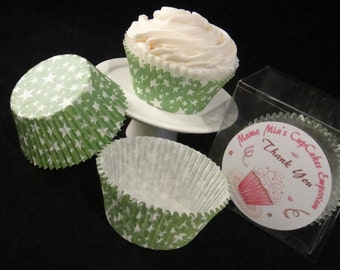 Green with White Stars Cupcake Liners