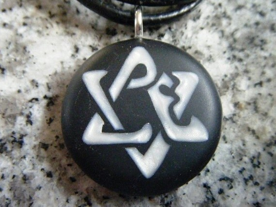 Star of David Love hand carved on a polymer clay black color background.Pendant comes with a FREE 3mm necklace
