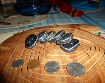 Hand Made Large,Chunky Rustic Dark Blue Antler Buttons  Set of Six
