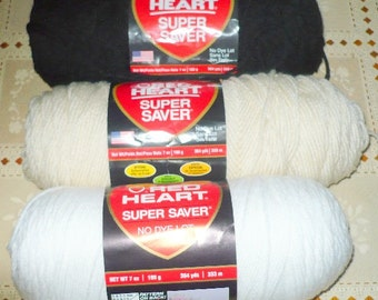 4 Red Heart - Super Saver Yarn - 6 Ozs. Except For 1 - See Description - Plus Extra - Price Is For All