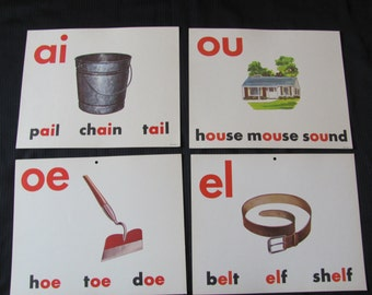 Old School Large Flash Card Poster - Vowels - Choice of Pail Hoe Belt House