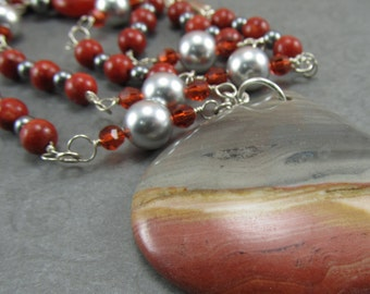 Orange Jasper Necklace Succor Creek Pendant Coral Silver
