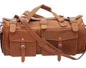 Made in USA! Leather Duffel Carry On Bag - Cognac Tan Distressed, Rugged Vintage Style