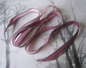Hand Dyed Painted Habotai Silk Wrap Bracelet - ombre wine - Silk Fairy Ribbon DIY wrap bracelet  Silk Bracelet  Ribbon Bracelet