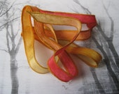 Silk Fairy Ribbons - Hand Dyed Painted Habotai Silk Wrap Bracelet - red willow butterscotch - DIY Bracelet - Jewelry Supply - silk