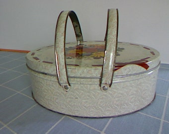 Vintage Oval Tin Box With Handles