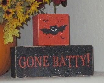 Gone Batty  Wooden  Blocks - Halloween Decoration