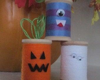 Wooden Spool Monsters - Halloween Spool Monsters