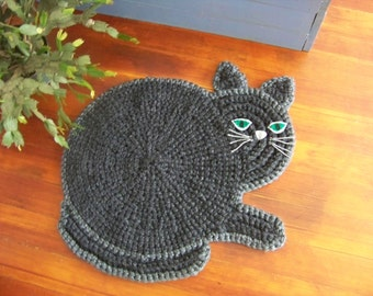 Hand Crocheted  Cat Mat