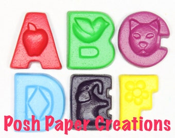 Fun letter crayons - six (6) - choose your colors