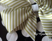 Green and White Striped Large Pinwheel Bow