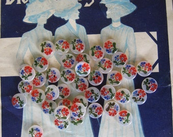 Vintage Buttons...new old stock...red & blue flowers on pearly plastic...lucite...1950....lot of 25