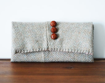 Beige Herringbone Wool Trifold Clutch Wallet with Buttons