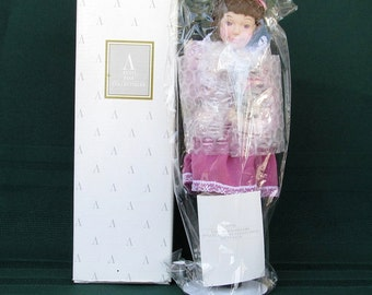 """Avon Childhood Dreams Porcelain Doll Collection """"Kitty Love"""" 1993 Girl with Kitten Cuddle Kitty"""