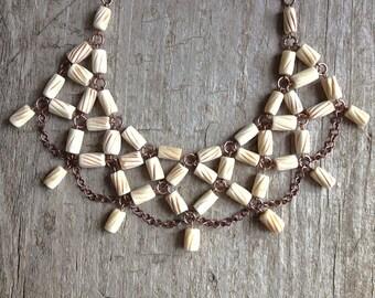 Tribal Bib Necklace, Bone Necklace, Statement Necklace, Statement Jewelry, Bohemian Necklace, Exotic Bohemian Jewelry