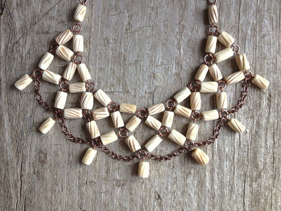 Tribal Bib Necklace, Bone Necklace, Statement Necklace, Statement Jewelry, Bohemian Necklace, Exotic Bohemian Jewelry, Mother's Day
