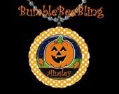 Children Jewelry Personalized Jack o Lantern Pumpkin Halloween Pendant Necklace